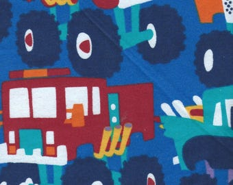 """MONSTER CARS & TRUCKS Flannel Fabric, 1 yard x 42"""" inches wide.  Brand new."""
