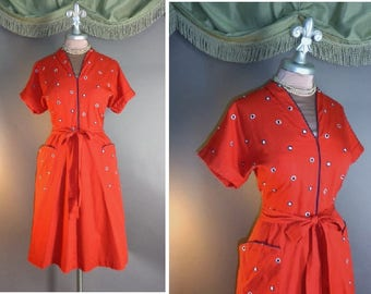 50s dress. 1950s vintage RED BLUE EMBROIDERY polka dots white cherry cotton Swirl wrap full skirt dress