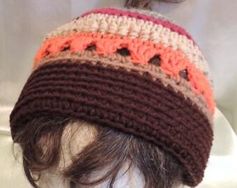 Messy Bun/Ponytail Hat Fall Colors Denim Blue, Gold, Grey, Maroon, Beige, Orange, Tan, Brown Crocheted Unisex Adult Size