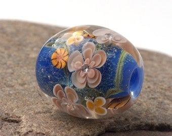 Artisan Lampwork Bead, Blue Floral Focal with cubic zircon