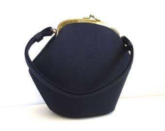 Vintage Navy Classic Retro Box Handbag // HL USA