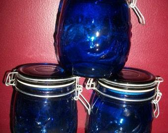 Vintage Canister Set of 3 Cobalt Blue Glass Wire Clamp Lids Embossed Fruit Patterns