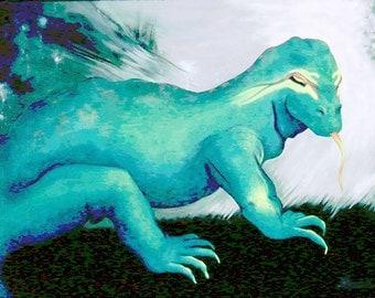 Komodo Dragon Painting-Fierce Lizard Power Magic-Big Sid-34 x 46 inches