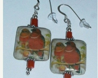 925 Sterling Silver Red Robin Red Coral Beaded Dangle Earrings
