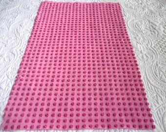 "Raspberry Morgan Jones 1/2""  Pops  Vintage Chenille Bedspread Fabric 29"" x 17"""