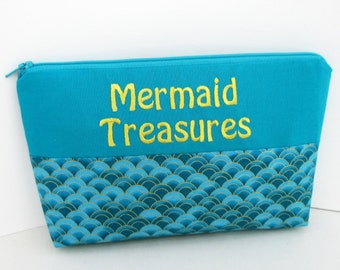 Mermaid Cosmetic Bag, Make up Zipper Pouch, Teal Mermaid Treasures