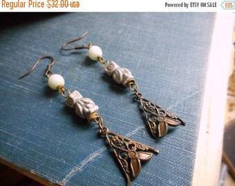 Moon Shadows. Tiny Ceramic Owls, Amazonite 'moons' & antique copper filigree leaf element earrings. Rustic  boho ooak