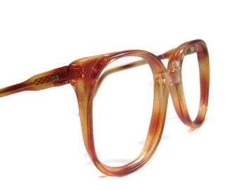 Vintage 80s Big Lens Red Tortoise HornRim Cateye Eyeglasses Eyewear Frame NOS