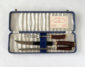 taylors cutlery boxed 60s carving set - 1211353