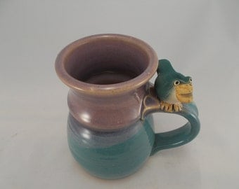 Kid's Whistle Mug for Children of ALL Ages, Handcrafted OOAK Stoneware Pottery Features Bird Whistle on Handle, Glazed Mauve and Pale Green