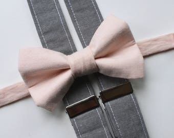 Little and Big Guy Bow tie and Suspender SET - Blush and Gray - (All Sizes Newborn-Adult)