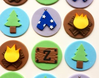 12 Camping fondant cupcake toppers