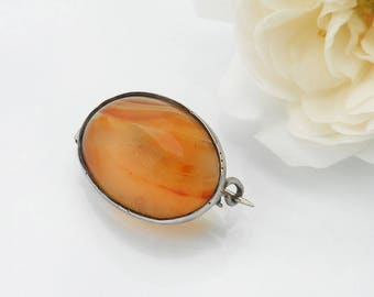 Edwardian Carnelian Agate Brooch | English Sterling Silver Lace Pin | Antique Brooch | Small Oval Orange Agate Cabochon Lace Pin, Lapel Pin