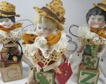 """Art Doll, """"Esther, a Safari Sister"""", Assemblage Doll with Antique Doll Parts and Vintage Blocks,"""