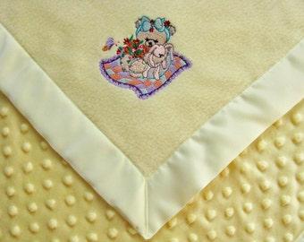 Baby Blanket Yellow  Fleece  Yellow Dot Minky with Teddy Bear Picnick  Ready to Ship