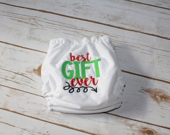 SALE Best Gift Ever embroidered OS Pocket diaper- Christmas-first Christmas-Gifts-Blessing-Holiday- Cloth Diaper- Embroidered-Present