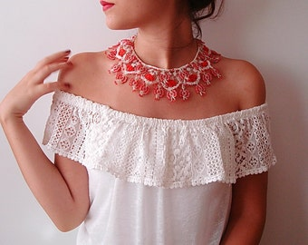 Crochet Lace Necklace, Beaded statement Bib necklace, Crochet jewellery, Tradional Handmade