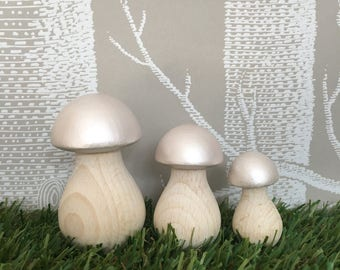 Set of 3 Toadstools Hand Painted in Pearl