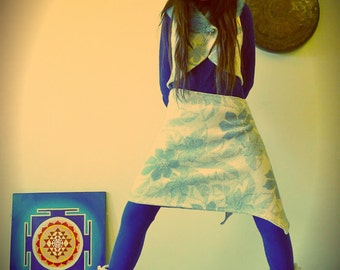 Upcycled Blanket Wrap Skirt Blue & White Floral Pattern                   Made in England UK