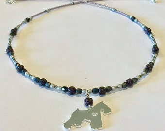 Silver Silhouette Schnauzer Dog Pendant Necklace in Plums, Silvers, Grays and Mauves