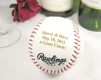 Personalized Engraved Baseball, Bride Groom Wedding Gift, Custom Wedding Keepsake Gift, Engraved Anniversary Gift, Baseball Wedding Favors