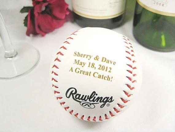 Baseball Wedding Gifts: Personalized Engraved Baseball Bride Groom Wedding Gift