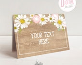 Printable Daisy Table Cards- Wood Background, Dessert Table Cards, Place Cards, Buffet Cards, Food Table Cards, PDF File w/ Editable Text