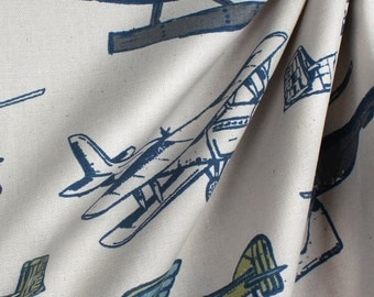 Sale Vintage Airplane and Helicopter Curtains, Window Treatments, Playroom Crtains, Kids Room Curtains, Airplane Curtains