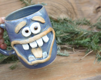 Huge 20 Oz Blue Coffee Cup. Extremely Happy Big Smiley Face Coffee Cup. Extra Large Ceramic Mug. Unique Man Husband Father Boyfriend Gift