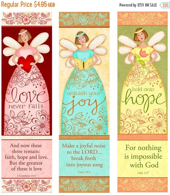 50% OFF SALE Angelic Trio INSTANT Download - Love - Hope- Joy - Bible Bookmarks Digital Download Printable Clip Art and Crafting Kd128