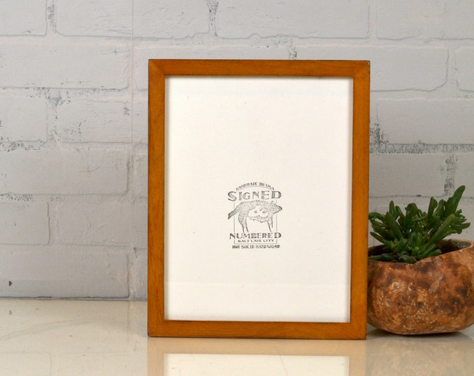 8.5 x 11 Picture Frame in Peewee Style on Alder with Vintage Honey Dye Finish - IN STOCK Same Day Shipping - 8.5x11 Modern Picture Frame