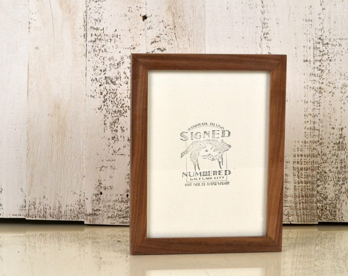 6x8 inch Picture Frame in Solid Natural Walnut Peewee Style - IN STOCK - Same Day Shipping - 6 x 8 Thin Wood Photo Frame