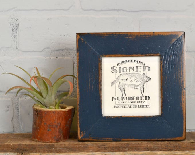 4x4 Reclaimed Wood Picture Frame with Super Vintage Navy Blue Finish - IN STOCK - Same Day Shipping - 4 x 4 Cedar Frame Blue
