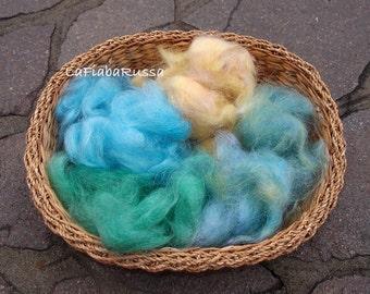 blue, green, yellow, color hand processed Mohair fiber for felting, spinning ready to art batt, drym carder, felting, filz.