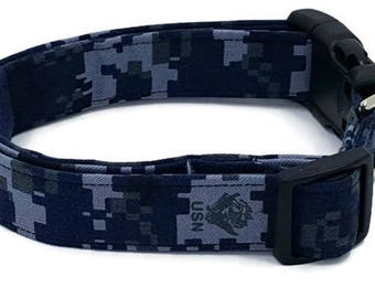 US Navy Blue Digital Camo Dog Collar Camouflage USN