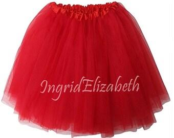 Red 4 Layers LONG Teen Adult Tutu Waist Stretch 18 36 Length