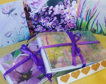 Original Wildflower Painting Note Card Set of 5 blank inside/ thank you love note birthday get well correspondence