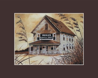 11x14 Wahab Coffee Shop Matted and signed Print 1940s rendering Ocracoke North Carolina