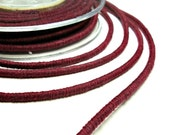 Burgundy cotton cord, wrapped cotton cord, 3.5mm cotton rope , 1 meter