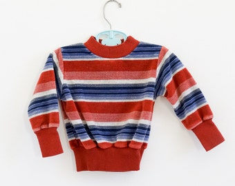 Vintage 1970s Boys Size 2 Shirt / 70s Health Tex Striped Velour Pull Over Top