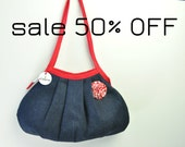 SALE 50% OFF - Shoulder Bag - Granny Style in Denim - Zipper Closure - Detachable Brooch/Corsage