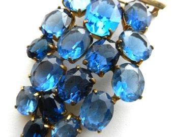 1920 antique bohemia Glass stones Grape Cluster Bunch Pin Brooch - Vibrant bluish purple glass unfoiled stones  - art.678/4-