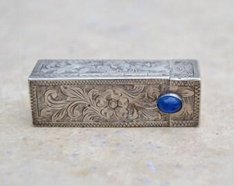 Vintage 800 Silver Lipstick Tube Ornate Engraving Mirror Blue Stone