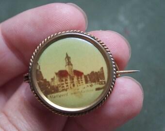Victoran Photo Brooch, Souvenir Jewelry, Stuttgart, Germany, Neues Rathouse, Gift For Friend, Traveler, Historian, Ready To Ship, Under 30