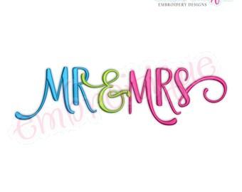 Mr. & Mrs.  - Love Valentine Wedding Marriage Husband Wife  -  Instant Download Machine Embroidery Design