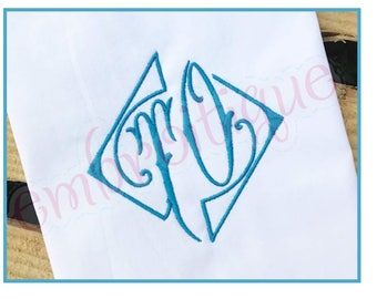 "Diamond Victorian Letter Initial Monogram Font -2"", 3"", 4"", 5"", 6""- BX Files included- Instant Download Machine embroidery design"