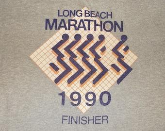 Vintage 1990 LONG BEACH MARATHON Finisher T-shirt • gray • L • Screen Stars