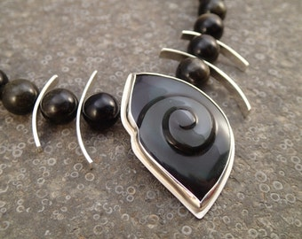 Swirl Carved Rainbow Obsidian Necklace