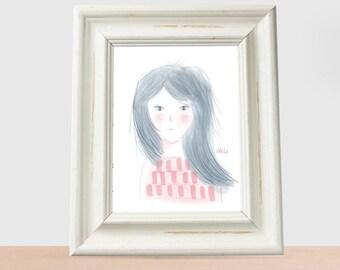 minimal girl long blue hair girl