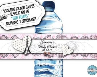 10 Waterproof Peel & Stick Water Bottle Labels, Pink, French Design, Eiffel Tower, Hearts, Bridal Shower, Baby Shower, Birthday